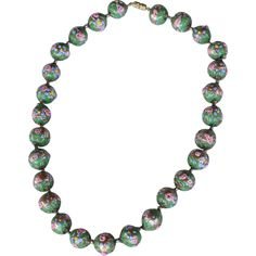 """Antique rare Venetian Murano glass Wedding Cake Bead green necklace late 1800's early 1900's; length 20""""; beads 5/8"""""""