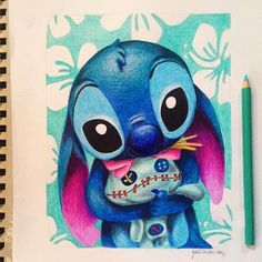 Stitch !! Love this piece I did back at the end of the school year. Having a little bit of art block.... Who should i draw??