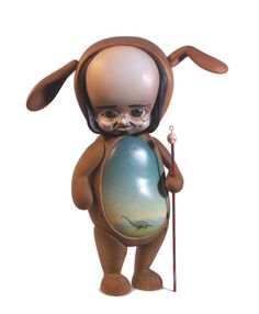 "Mark Ryden, by Michael Leavitt. (Articulating Wooden Statue, 22""/50cm)."