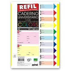 Caderno universitário c/50 fls coladas refil color 4 furos Spiral - Escolar - Kalunga.com