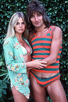 Rod Stewart & Britt Ekland (in that outfit- I simply can't image why people thought Rod Stewart was gay!)