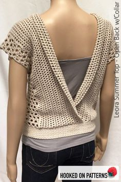 Leora Summer Top Crochet Pattern with Open Back. A beautiful crochet top from Hooked On Patterns. Available in size from Small to 3XL. #HookedOnPatterns #crochet #fashion #crochetpattern #plussize #style #crocheting #style #lifestyle #crochetpatterns #lovecrochet #etsy #handmade #crafts #hobbies #clothes #wear #summer
