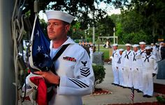 #USNavy Chief (Select) Aviation Electronics Technician Gregory Harris prepares to hoist the National Ensign during colors.