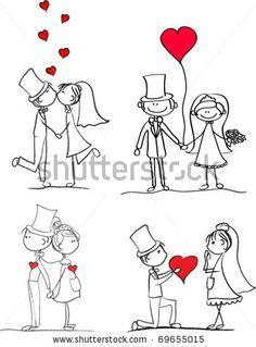 Imagens, fotos stock e vetores similares de cartoon doodle wedding couple with hearts - 109990703