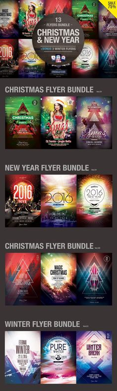 Christmas & New Year Flyers Bundle. Flyer Templates. $29.00