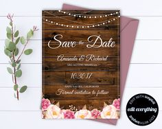 Rustic Save the Date Wedding Template - Country Save the Date Card - Southern Save the Date Invite - Printable Save Date - Save Our Date by MintedMemories on Etsy