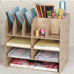 XY-Archivos de escritorio dormitorio creativo estudio libro estante del almacenaje de madera pura , white oak