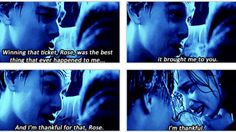 """as he sits in freezing cold water, knowing he's about to die. the words he manages are """"I'm thankful for that rose, I'm thankful. Titanic Movie Scenes, Titanic Movie Facts, Titanic Quotes, Real Titanic, 2 Movie, Movie Theater, Tv Show Quotes, Movie Quotes, Romantic Movies"""