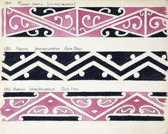 Godber, Albert Percy, 1876-1949 :[Drawings of Maori rafter patterns]. The bottom two are from the Hinemihi wharenui at Whakarewarewa