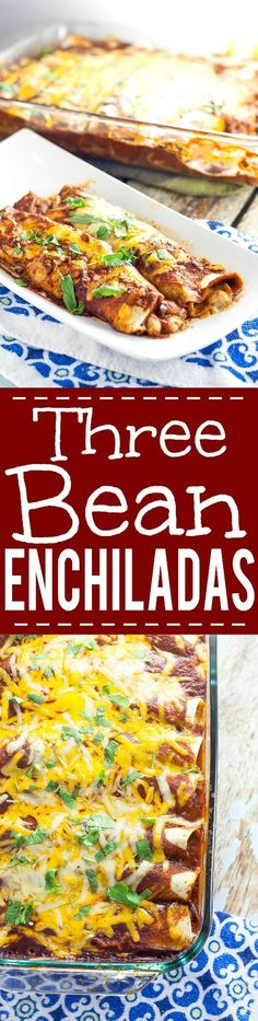 3 Bean Enchiladas Recipe - Quick, easy, and frugal, this 3 Bean Enchiladas recipe with 3 types of beans and lots of cheese is the perfect way to eat vegetarian for a delicious and cheap family dinner (Vegetarian Recipes Meal Prep) Veggie Recipes, Mexican Food Recipes, Cooking Recipes, Healthy Recipes, Cheap Veggie Meals, Diet Recipes, Frugal Recipes, Cheap Recipes, Potato Recipes