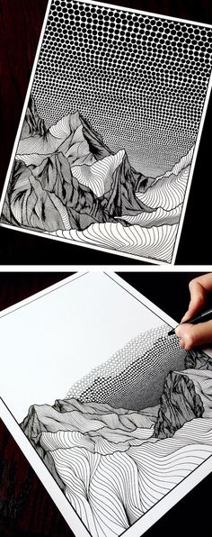 Art Inspiration Inspired by her new home in Canada, Netherlands-born artist Christa Rijneveld creates pointillist line drawings of mountains. Art Inspiration Source : Inspired by her new home in Canada, Netherlands-born artist Christa Rijneveld Mountain Drawing, Mountain Art, Pointillism, Pen Art, Art Auction, Landscape Art, Landscape Drawings, Doodle Art, Painting & Drawing