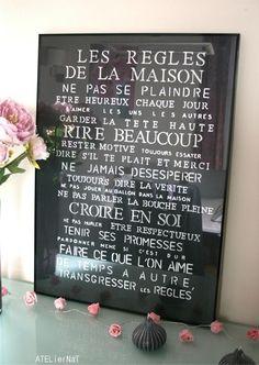 Citation  Tableau déco 'Les règles de la maison' # DIY