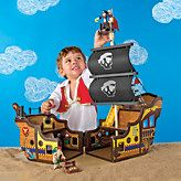 Toy Wood Pirate Ship & Play Set