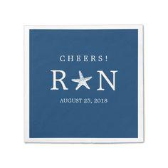 Navy Blue Monogram Starfish   Wedding Paper Napkin