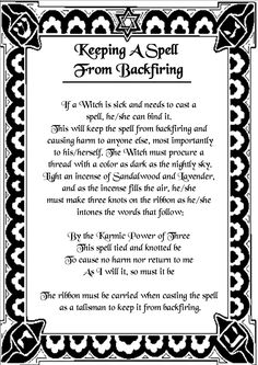 Magick Spells:  Keeping a #Spell from Backfiring.