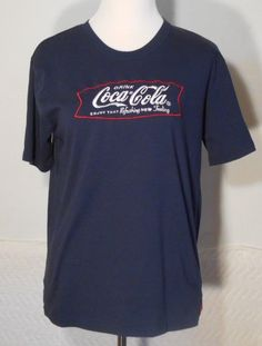 Drink Coca Cola Ladies T-Shirt Small Blue Enjoy That Refreshing New Feeling 5719 #CocaCola #GraphicTee