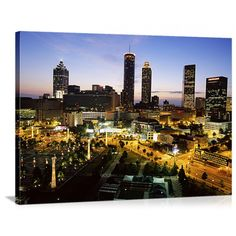 Illuminated against the evening sky, the Great BIG Canvas High Angle View of Buildings Lit Up at Sunset Centennial Olympic Park Atlanta Georgia Canvas. Georgia Usa, Atlanta Georgia, Centennial Olympic Park Atlanta, Panoramic Pictures, Cheap Travel Insurance, Evening Sky, Canvas Wall Art, Big Canvas, Olympics