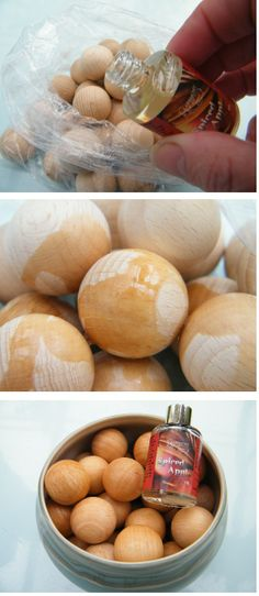 How to make scented wooden balls via driedflowercraft.co.uk - I used the Autumnal Spiced Apple fragrance.