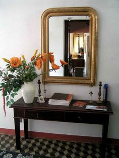 The entrance hall of our 300 hundred years old retored villa. Entrance Hall, Tuscany, Oversized Mirror, Villa, Chocolate Food, Music Books, Colours, Wedding Beauty, Picture Design