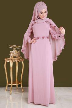 ** YENİ ÜRÜN ** Gül Güpürlü Tesettür Elbise Pudra Ürün kodu: ALM3024 --> 129.90 TL