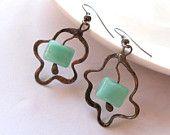 Copper wire dangle earrings green beaded jewelry Olive. $25.00, via Etsy.