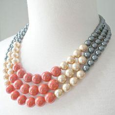 SALE: Color Block Triple Decker Necklace - in Ablaze - 3 Strand Colored Pearl Necklace Cute Jewelry, Boho Jewelry, Jewelry Crafts, Beaded Jewelry, Jewelry Accessories, Handmade Jewelry, Jewelry Necklaces, Jewelry Design, Fashion Jewelry