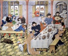 "jeszcze jeden ""moralizatorski"" przykład - Carousal in a tavern, Flanders 1455 Medieval World, Medieval Art, Medieval Houses, Medieval Fashion, Medieval Manuscript, Illuminated Manuscript, 15th Century Clothing, Medieval Banquet, Medieval Furniture"