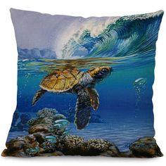 "Sea Turtle Printed Square Pillow Cover 18"""