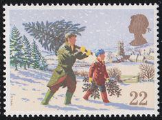 Christmas 22p Stamp (1990) Fetching the Christmas Tree