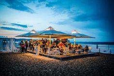 heated shade #umbrellas with lighting Celmec Heatray Radiant Heaters, Shade Umbrellas, Baltic Sea, Beach Club, Outdoor Entertaining, Deck, Shades, Urban, Lighting