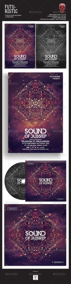 """Futuristic Flyer Templates #GraphicRiver Featured Flyers Flyer Artwork + Single Cover Artwork """"Sound Of Dubstep"""" This flyer was designed to promote an Electro / Dubstep / Dance / Drum and Bass / Techno / House music event, such as a gig, concert, festival, dj set, party or weekly event in a music club and other kind of special evenings. This flyer can also be used for a new album promotion or other advertising purposes. Detail : 2 Psd files Flyer size 4×6 with 0.25 inch bleed area Single…"""