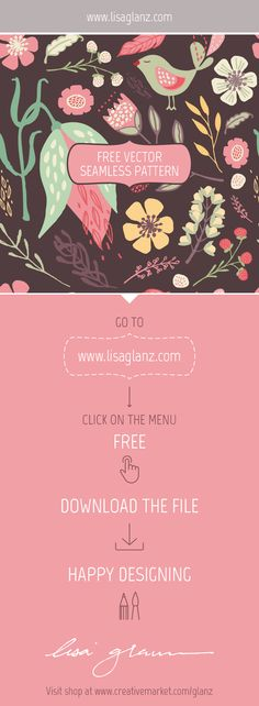 Free vector seamless pattern. Go to www.lisaglanz.com to download. Enjoy!  #free #graphic #illustration #vector