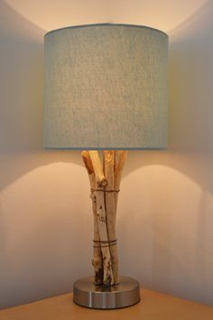 Natural Rustic Driftwood Stick Lamp with Chrome Base #2,Salvaged, Recycled, Centerpiece, Solid Wood, Home Decor