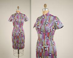 1960s geometric cheongsam dress vintage 60s von MintageClothingCo