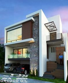 9 Simple and Modern Ideas: Contemporary Architecture Interior contemporary ideas pools. House Front Design, Modern House Design, Stairs Architecture, Architecture Design, Indian Architecture, House Elevation, Exterior House Colors, House Exterior Design, Facade Design