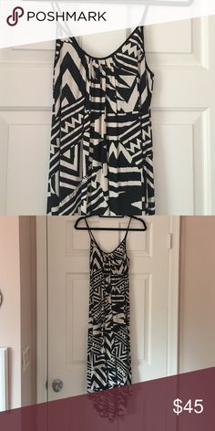 Black and cream patterned dress Black and cream tribal pattern. Slightly lower back. High low fit. Very loose/flows silhouette. La Vi by Sam & Lavi at Anthropologie. Cima Maxi Dress for stock images. Anthropologie Dresses High Low