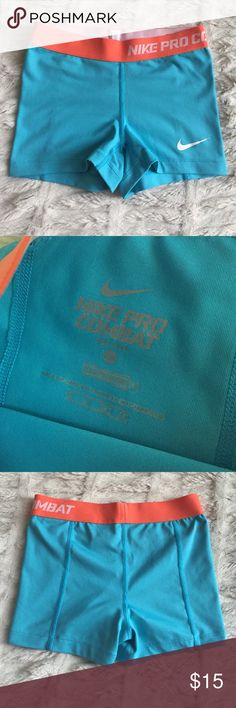 NIKE Pro Combat Shorts XS Nike, brand new never worn, workout shorts in light blue and orange! Nike Shorts