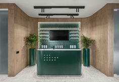 Completed in 2019 in Kiev, Ukraine. Images by Yevhenii Avramenko. 365 Studio occupies some part of the ground floor and the first floor in a new building in central Kyiv. The key element of the project is the. Bar Design, Store Design, Counter Design, Salon Design, Design Shop, Hairdressing Chairs, Dental, Chief Architect, Studio Green