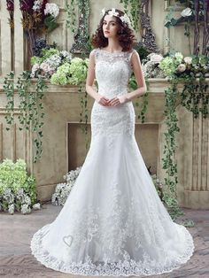 Timeless Mermaid Lace 2016 Wedding Dress Zipper Button Back Sweep Train