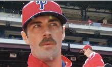 Cole Hamels gets pinned for a World Series winning mustache. Go Phils!