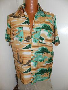 Vintage 1970's VAN CORT Hawaiian Island Camp Shirt 100% Polyester Mens Size M #VanCort