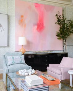 living room design | antique marble fruit | pink chairs | decorate with branches in tall vases | large scale abstract art by mallory page | blue print | blueprintstore.com