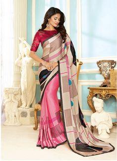 PINK FANCY FABRIC DESIGNER SAREE SKU:518759 Indian Sarees Online, Buy Sarees Online, Pink Parties, Party Wear Sarees, Online Sales, Fabric Design, Designer Sarees, Sari, Fancy