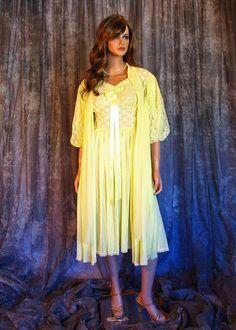 Vintage Yellow Lace Peignoir Set Chiffon Bridal Lingerie