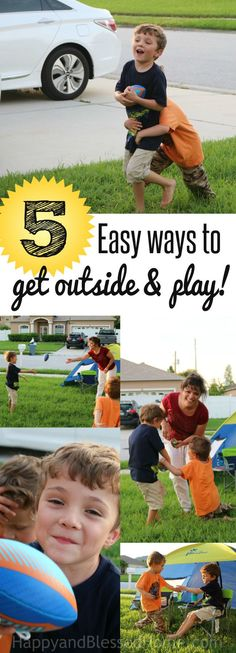 5 Easy Ways to get outside and PLAY - We had a blast yesterday playing outside! I'm sharing 5 kids activities with games and ideas to get outside and PLAY. My kids loved the fun outdoor activities. Ad Stop by and share YOUR ides - I'd love to hear from you!  #BeGreatOutThere Nature Valley #IC