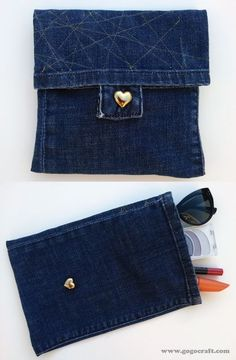 Super simple craft using old jeans from GoGo Craft. Jean Crafts, Denim Crafts, Jeans Recycling, Jean Purses, Denim Purse, Denim Ideas, Recycled Denim, Denim Fabric, Sewing