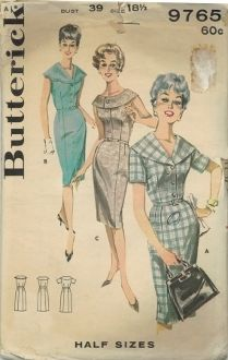 An original ca. 1960's Butterick Pattern 9765.  (A) Dress with large shawl collar, front buttoned bodice, short set in sleeves, slim skirt, self-belt. (B) Sleeveless dress with top-stitched scalloped collar.  ( C) Shallow necked version with buttoned ring collar.