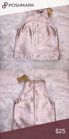 Top with Halter Neck.Metallic Fabric 68% Polyester..32% Viscose.Color Nude Pink.Brand New ❌I do not model clothes Zara Tops Crop Tops
