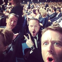 """Pin for Later: The Most Surprising Celebrity Selfies Ever Taken  Chris Hardwick had """"REALLY GOOD SEATS"""" at the 2014 Emmys, making this this selfie with Bryan Cranston and Aaron Paul possible."""