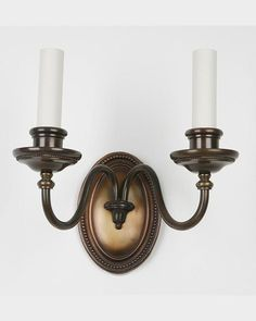 Circa pair of simple double-arm sconces with bead details on the oval backplates as well as the bobeches. In their original dark patina over copper and brass. Copper And Brass, Bronze, Candle Sconces, Wall Sconces, Wall Lights, Candles, Lighting, Antiques, Home Decor